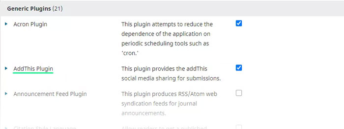 """""""AddThis Plugin"""" has been installed successfully into OJS."""